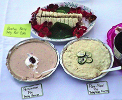 Persimmon Pie, Paw Paw Pie and a Beauty Berry Jelly Roll Cake.