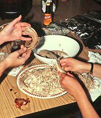 prPreparing ratttlesnake meat.